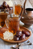 Arabic tea and dates Royalty Free Stock Photos