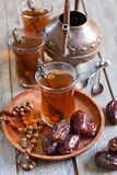 Arabic tea and dates Royalty Free Stock Photography