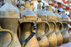 Arabic tea pots lined up Stock Image