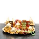 Arabic tea service golden cups Ramadan kareem Stock Photo