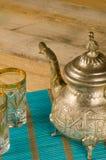 Arabic tea still life on table. Arabic tea still life, vintage objects on wooden table Royalty Free Stock Photo