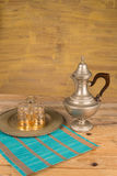 Arabic tea still life. Vintage objects on wooden table Royalty Free Stock Images