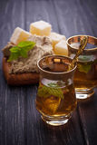 Arabic tea with turkish delight and halva. Selective focus Royalty Free Stock Photos