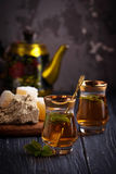 Arabic tea with turkish delight and halva. Selective focus Royalty Free Stock Images