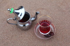 Arabic teapot with tea Hibiscus Stock Images