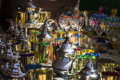 Arabic teapot, various glass vessels with many colors, typical s Royalty Free Stock Image