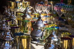 Arabic teapot, various glass vessels with many colors, typical s Stock Photo