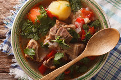 Arabic thick lamb soup with vegetables closeup. Horizontal top v. Arabic thick lamb soup with vegetables closeup at the plate on the table. Horizontal view from Stock Images