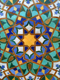 Arabic Tile Background. Beautiful geometric tile in the Hassan II Mosque in Casablanca, Morocco Stock Photos
