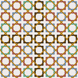 Arabic tile seamless pattern decoration mosaic art. Tiled geometric pattern inspired by classic Arabic mosaic tile. Entwined modern seamless pattern based on Royalty Free Illustration