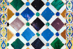Arabic tiles background. Alhambra of Granada. Royalty Free Stock Photos