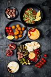 Arabic traditional cuisine. Middle Eastern meze platter with pita, olives, hummus, stuffed dolma, labneh cheese balls, falafel. Stock Photography