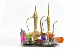 Arabic traditional dishes decorations Tea table Ramadan. Arabic traditional dishes and decorations. Holidays composition with dates fruits. Oriental hospitality Royalty Free Stock Photos