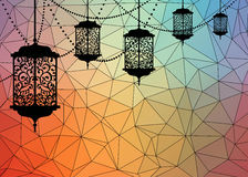 Arabic traditional lantern and garland on colorful background. With triangles . Card, invitation for muslim month Ramadan Kareem. Festive vector illustration Royalty Free Stock Images
