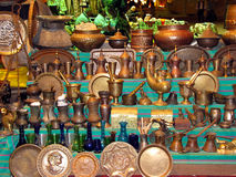 Arabic traditional products. Arab jugs and plates, traditional souvenirs Royalty Free Stock Images
