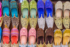 Arabic Traditional shoes. In the Old Souk of Dubai Stock Image