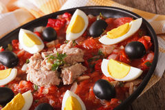 Arabic tuna salad with grilled vegetables and eggs close-up. hor Stock Images