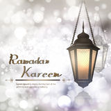 Arabic vector Lamp on shiny abstract background for Ramadan Kareem Stock Image