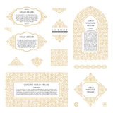 Arabic vector set of frames lines art design templates. Muslim gold outline elements and emblems Stock Photo