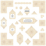 Arabic vector set of frames lines art design templates. Muslim gold outline elements and emblems Stock Photography