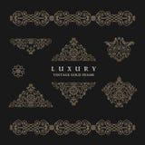 Arabic vector set of frames lines art design templates. Muslim gold outline elements and emblems Stock Images