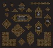 Arabic vector set of frames lines art design templates. Muslim gold outline elements and emblems Stock Image