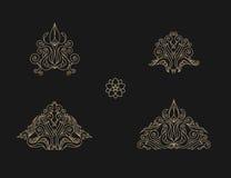 Arabic vector set of frames lines art design templates. Muslim gold outline elements and emblems Stock Photos
