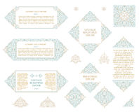 Arabic vector set of frames lines art design templates. Muslim gold outline elements and emblems Royalty Free Stock Photo