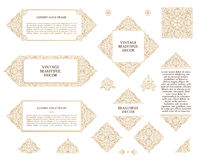 Arabic vector set of frames lines art design templates. Muslim gold outline elements and emblems Royalty Free Stock Image