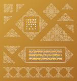 Arabic vector set of frames lines art design templates. Muslim gold, white outline elements and emblems Stock Photography