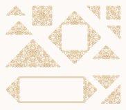 Arabic vector set of frames lines art design templates. Muslim gold, white outline elements and emblems Stock Images