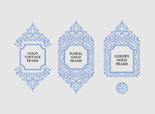 Arabic vector set of frames lines art design templates. Muslim outline elements and emblems Royalty Free Stock Photos