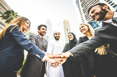 Arabic and western business people. Portrait. Motivational concept Royalty Free Stock Photo