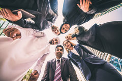 Arabic and western business people. Portrait. Motivational concept Stock Photography