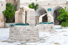 Arabic White Stone Wells in interior mosque courtyard in palesti Royalty Free Stock Images