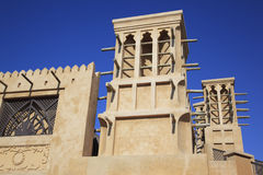 Arabic wind tower. Against a blue sky background Royalty Free Stock Photos