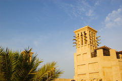 Arabic wind tower during sunset. Dubai, United Arab Emirates Royalty Free Stock Images