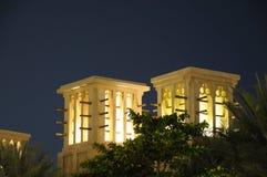 Arabic Wind Towers. Illuminated at night. Dubai, United Arab Emirates Stock Photography