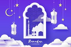 Arabic window arch, lantern with white mosque in papercraft style. Origami Ramadan Kareem greeting card. Crescent Moon stock illustration