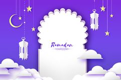 Arabic window arch, lantern with white mosque in papercraft style. Origami Ramadan Kareem greeting card. Crescent Moon royalty free illustration