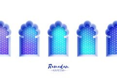 Arabic window arch in paper cut style. Origami Ramadan Kareem greeting cards. Arabesque pattern. Crescent Moon. Holy Stock Images