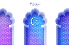 Arabic window arch in paper cut style. Origami Ramadan Kareem greeting cards. Arabesque pattern. Crescent Moon. Holy. Month of muslim. Symbol of Islam. Vector stock illustration