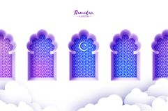 Arabic window arch in paper cut style. Origami Ramadan Kareem greeting cards. Arabesque pattern. Crescent Moon. Holy vector illustration