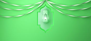 Arabic window, hanging lamp and ribbon on green pastel background. vector illustration