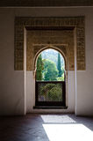 Arabic window. Precious and old Arabic window in an ancient palace in the South of Spain Royalty Free Stock Photos