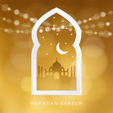 Arabic window with the silhouette of the mosque, moon, stars and bokeh lights. Greeting card, invitation for Muslim. Community holy month Ramadan Kareem. Golden Stock Photo