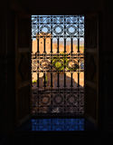 Arabic window. View out of a window of the Kasbah Taourirt in Ouarzazate, Morocco. It is called Fatima window Stock Image