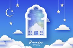 Arabic window with White Mosque in paper craft style. Origami Ramadan Kareem greeting card. Crescent Moon and star. Holy vector illustration