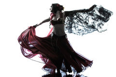 Arabic woman belly dancer dancing Stock Photos