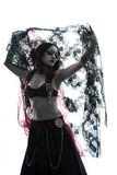 Arabic woman belly dancer dancing silhouette Royalty Free Stock Images